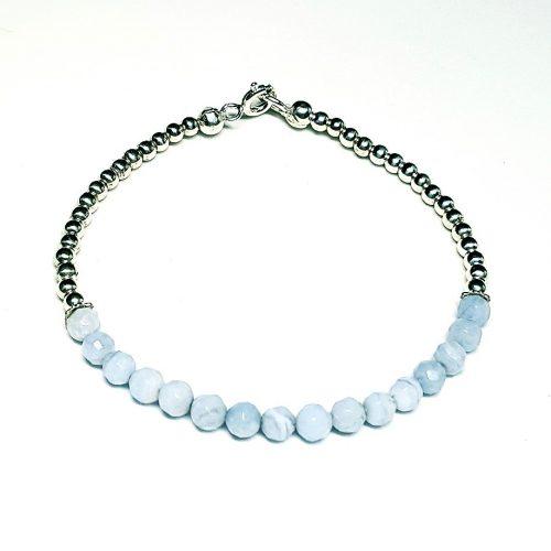 Bracciale in Agata Blu Lace e perline sferiche