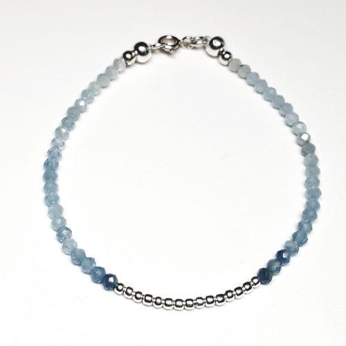 Bracciale in Acquamarina e perline in argento