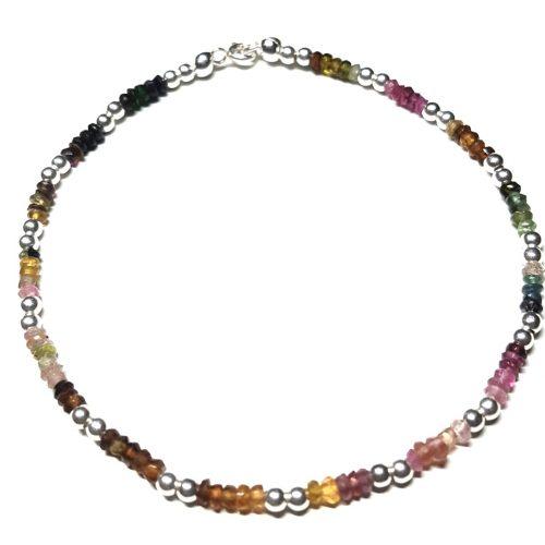 Cavigliera in Tormalina Multicolore e Argento