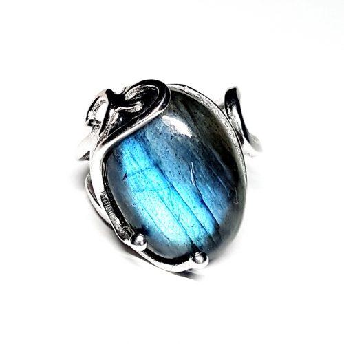 Anello con Labradorite Blu su argento lavorato
