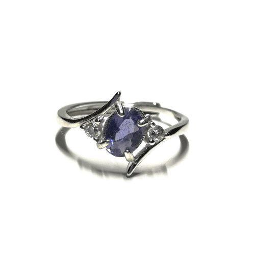 Anello con gemma di Iolite e Zirconi...spettacolare